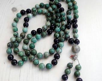 Bloodstone Mala, Amethyst Mala, March Birthday, Aries Star Sign,  Meditation Mala Jewelry, mala 108, Gemstone Necklace, Boho, Cornwall UK