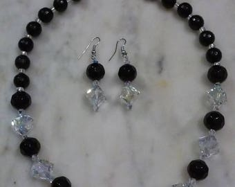 Black bead and crystal necklace set