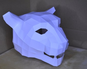 Leopard Mask . The Paper Mask . Low Poly . Fancy dress . Pary colthes