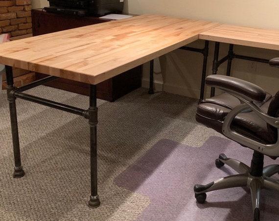 """Desk Black Pipe Table Bases, """"DIY"""" Kits - """"L"""" Shaped Table Base"""