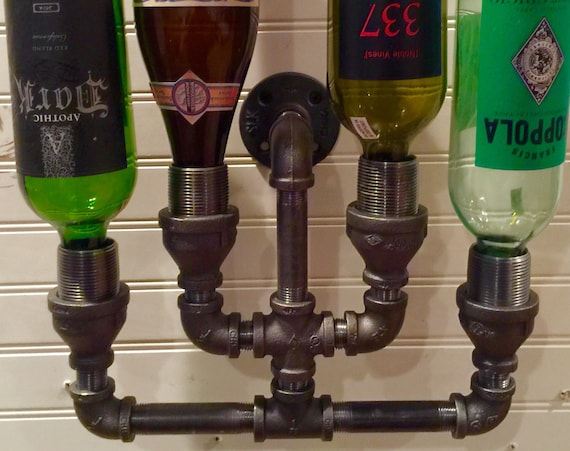 Wine Rack, Liquor Bottle Rack, constructed of industrial black Iron pipe,  Steampunk, Man Cave, Home Bar