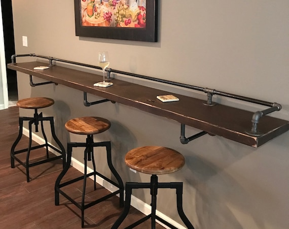 """Industrial Pipe Drink/Bar Rail with 3 Shelf Support Brackets """"DIY"""" Parts Kit - Use Your Own Wood Top -Sale Ending Soon!"""