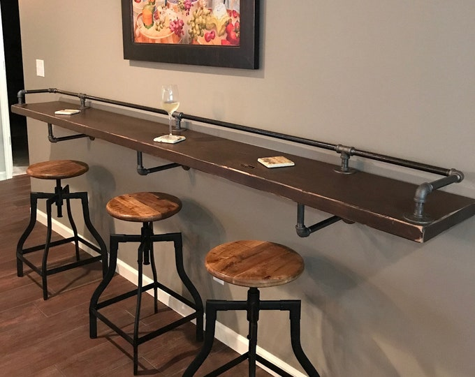 "Featured listing image: Industrial Black Pipe Drink/Bar Rail with 3 Shelf Support Brackets ""DIY"" Parts Kit - Use Your Own Wood Top -Sale Ending Soon!"