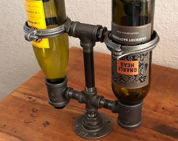 Industrial Pipe Wine Rack, Holder - Holds 2 Bottles