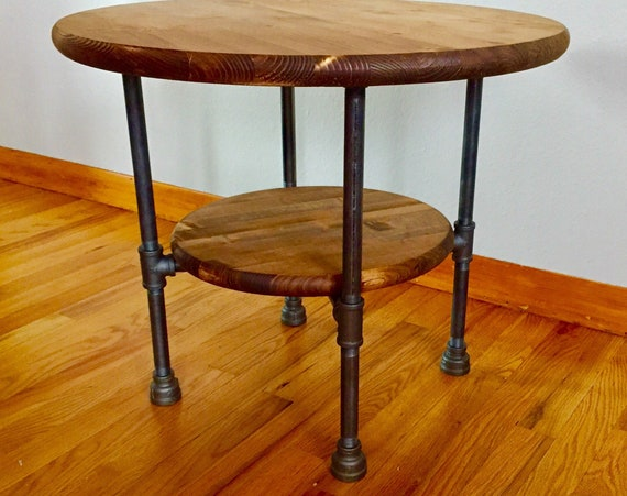 """Black Pipe Table """"DIY"""" Parts Kit with optional unfinished 36"""" round wood top and 24"""" round wood shelf, 20"""" tall"""