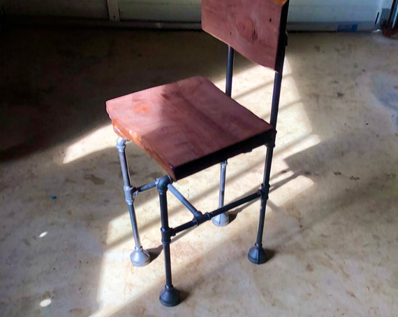 Industrial Black Pipe Chair with Live Edge Wood