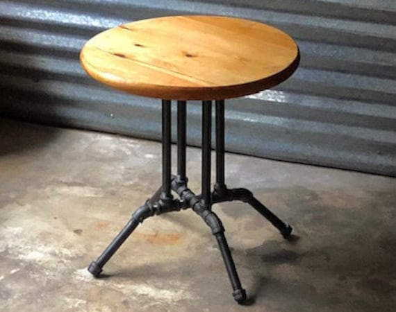 """Black Pipe Table Base - """"DIY"""" Parts Kit - 18"""" x 18"""" Table Base x 20"""" tall (with wood top option) or use your own table top"""