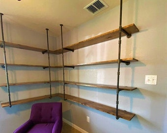 """Black Pipe Corner Shelving, Wall & Ceiling Mounted, Parts Kit """"DIY"""", Great Sale Price for a Limited Time!!"""