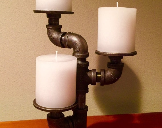Black Pipe Candle Holder