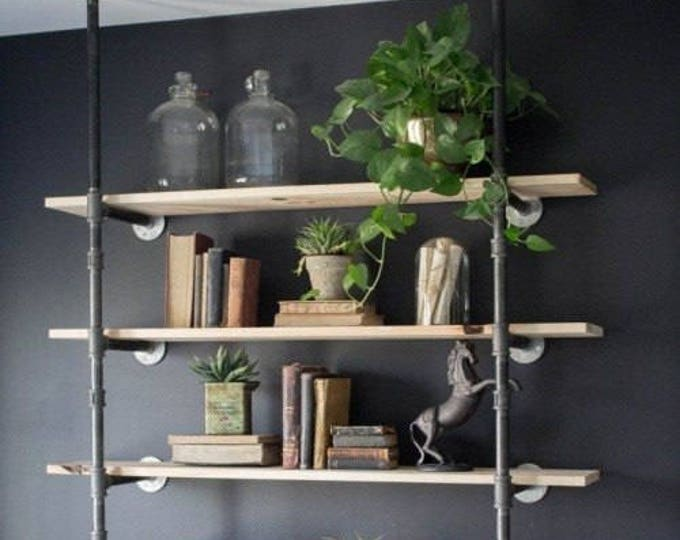 "Featured listing image: Black Pipe Shelving, Open Wall Unit, Wall & Ceiling Mounted, Parts Kit ""DIY"" - Choose Number of Shelves - 2, 3, 4, 5, 6 - HUGE SALE!!"