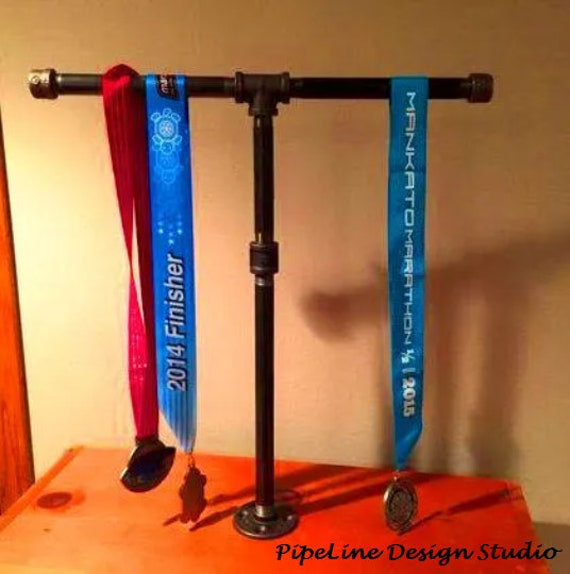 Sports Medal Display Stand Industrial Black Pipe-- Marathon, 26.1, Half Marathon, 13.1, 10K, 5K, Sprint Tri, Tri, Iron Man