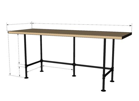 "Pipe Table Base/DESK ""DIY"" Kit-  3/4"" pipe x 30"" tall,  *Length- 44"", 56"", 68"", 80"", 92"",   *Depth- 16"", 18"", 20"", 22"", 24"", 26"", 28"""