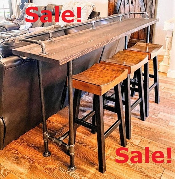 """Industrial Pipe Table Base & Drink Rail """"DIY"""" Parts Kits - 72"""" long x 16"""" wide x 30"""", 36"""" or 40"""" tall"""
