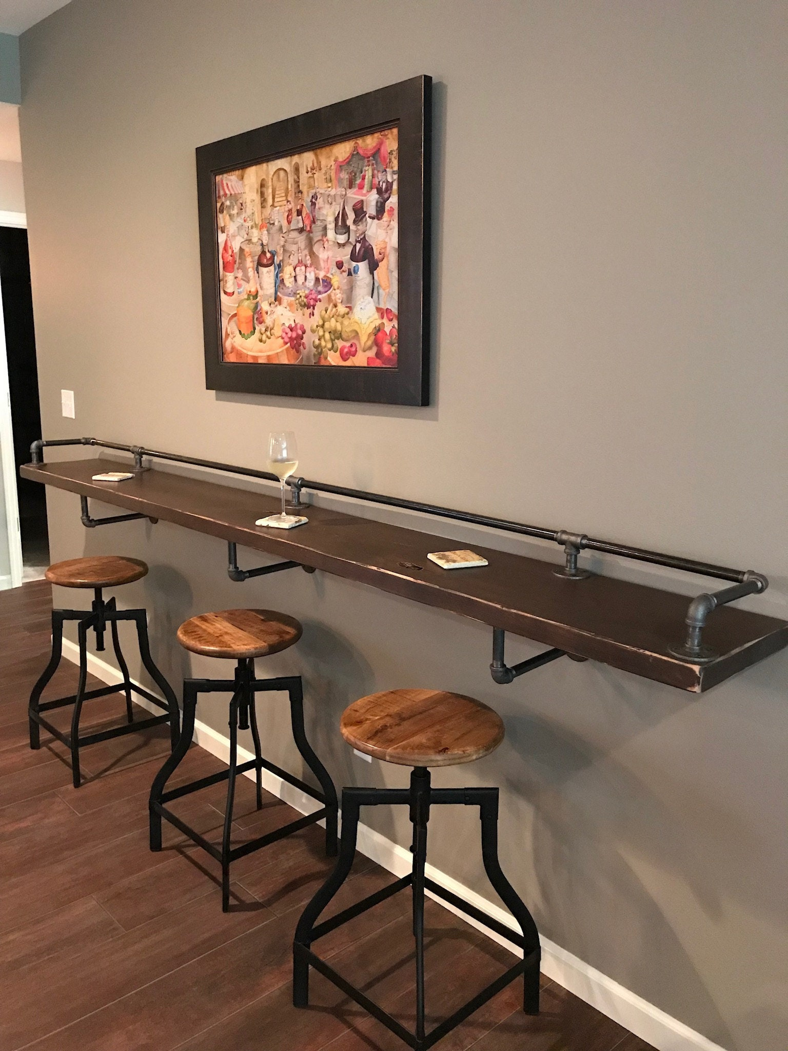 Industrial Black Pipe Drink/Bar Rail With 3 Shelf Support ...