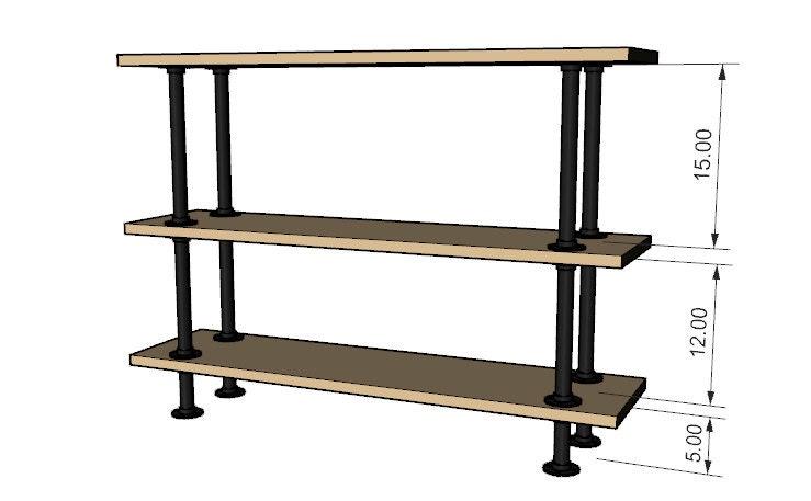 Black Pipe Shelving DIY Kit - 48 wide x 12 deep x 36 tall