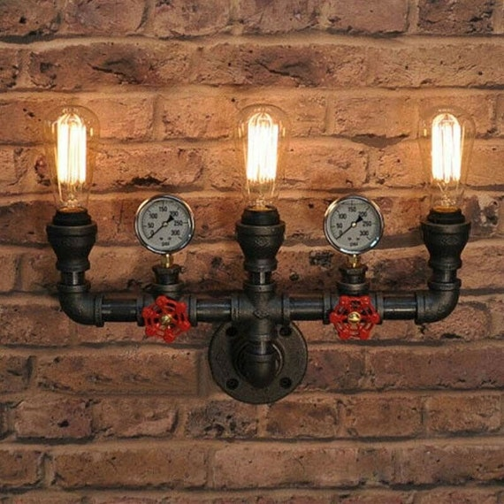 Vintage Industrial Iron Water Pipe Wall Sconce Light Retro Loft Lamp Fixture