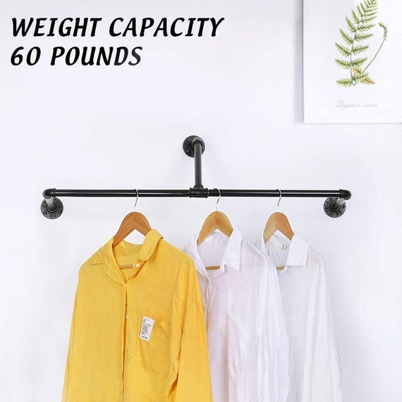Closet Hanger Rod, Industrial Pipe, T-Bar Pipe Wall Mounted Clothes Rack