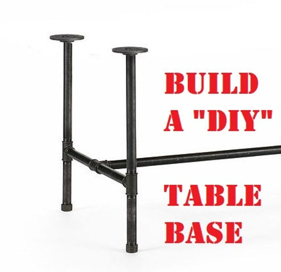 """Black Pipe Table Base, """"DIY"""" Kit, 1"""" x 40"""" tall - Length- 26"""", 32"""", 38"""", 44"""", 56"""", 68"""", or 80"""" Width- 12"""", 16"""", 20"""", 24"""", 26"""", 28"""" or 30"""""""