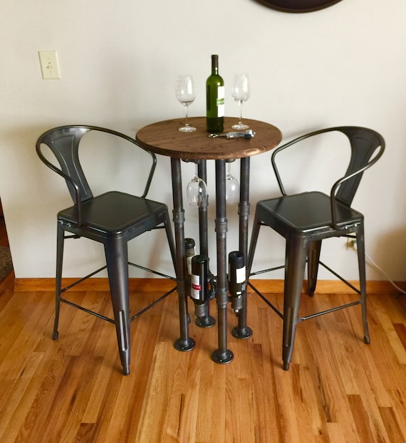 """Black Pipe Wine Bar & Wine Table - 1-1/4"""" Black Pipe - 24"""" round top, 40"""" tall with Wine glass rack and Wine Bottle Rack"""