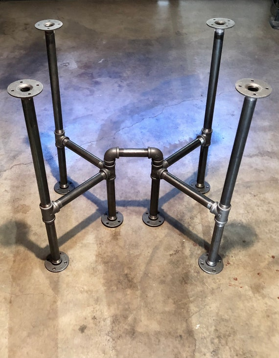 """Black Pipe Cross Table Base, """"DIY"""" Parts Kit, Unique Table Base, **Choose 3/4"""" Pipe or 1"""" Pipe - 28"""" long x 22"""" wide x 20"""" - 42"""" tall"""