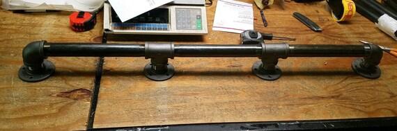 "Black Pipe Bar Foot Rail- 1-1/4"", Pipe x 5"" tall, ""DIY"" Parts Kit- Lengths - 48"", 60"", 72"", 84"", 96"", 108"", 120"", 132"", 144"" - Custom Sizes"