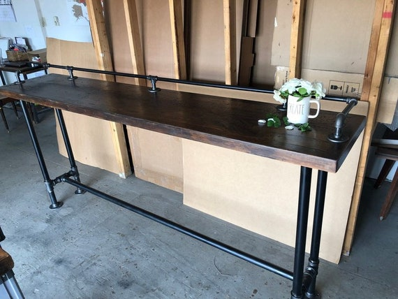 """Industrial Pipe Table Base & Drink Rail """"DIY"""" Parts Kits- 84"""" Long, Depth - 12"""", 14"""", 16"""", or 18"""", Heights - 30"""", 36"""", 38"""", 40"""", 42"""", or 44"""""""
