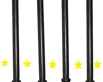"Industrial Black Iron Pipe Table Legs , INCLUDES 4 Complete Table Legs 3/4"" Diameter 6"", 7"", 8"", 9"",10"", 12"", 18"", 24"",30"" & 36""  ""DIY"""