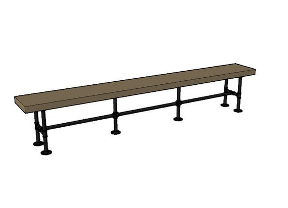 """Pipe Bench Base """"DIY"""" Parts Kit- 3/4"""" pipe x 12"""" wide x 18"""" tall - Lengths Available - 46"""", 58"""", 64"""", 82"""", 94"""" & 100"""",Custom Sizes Available"""