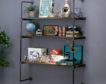 """Pipe Shelving System, Open Shelving Wall Unit, Parts Kit """"DIY"""", Easy to Assemble, 5 Shelves"""