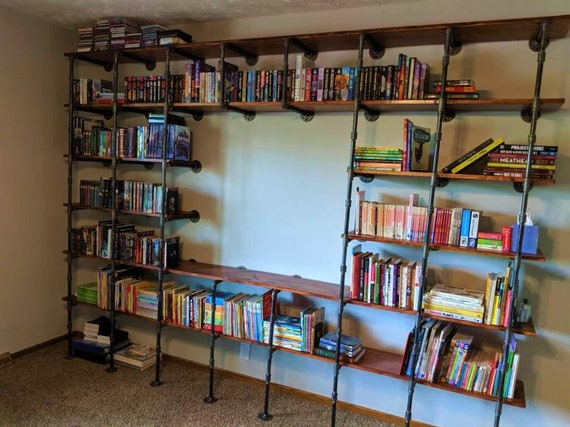 """Black Pipe Shelving, Wall Mounted and Floor Unit, Parts Kit """"DIY"""" - 6 shelf unit, 12"""" deep and 84"""" tall -  CUSTOMIZE your own Shelving"""