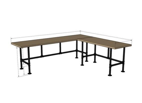 "Industrial Pipe Desk Base ""DIY"" Parts Kit- 3/4"" pipe x  68"" L x 24"" W x 28"" T (long side), 3/4"" pipe x 56""L x 24"" W x 28"" T (shorter side)"