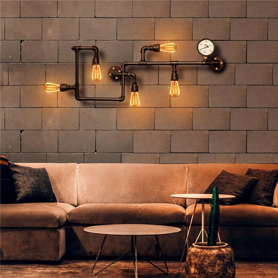 Retro Industrial Steampunk Wall Lamp Retro Wall Light Rustic Vintage Pipe Sconce