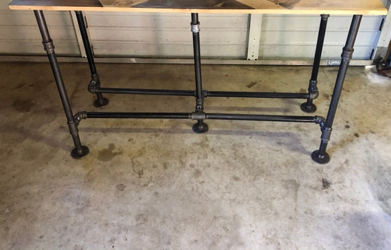 """Black Pipe Table Base """"DIY"""" Parts Kit, 3/4"""" Pipe x 30"""" tall - Foot Rails on both sides"""
