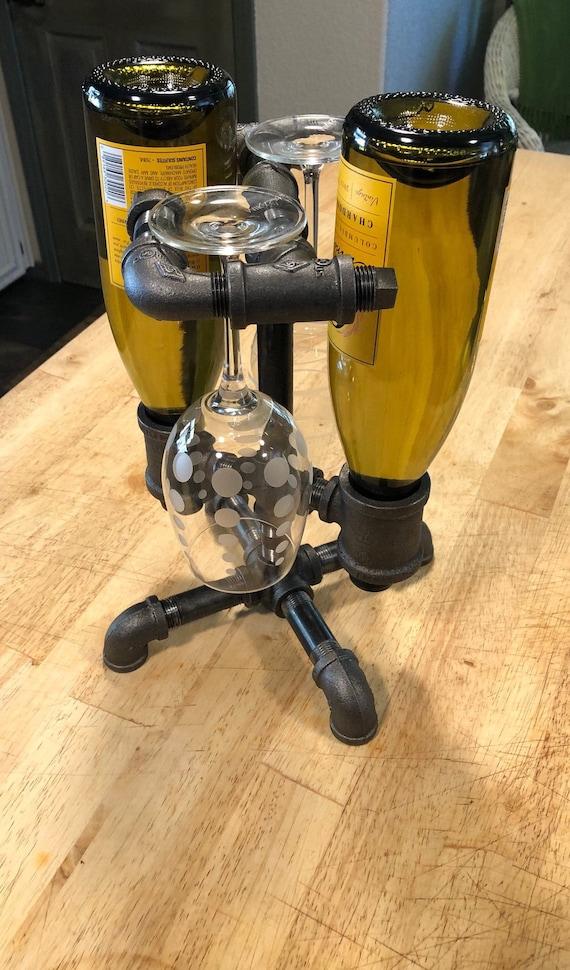 Industrial Pipe Wine Rack Holder - Holds up to 2 Bottles/2 Wine Glasses