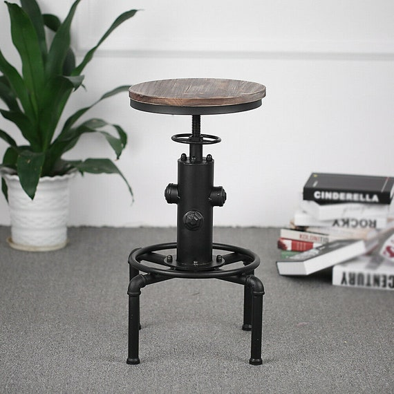 """Industrial Bar Stool with Adjustable Height, 22""""-28"""" tall"""