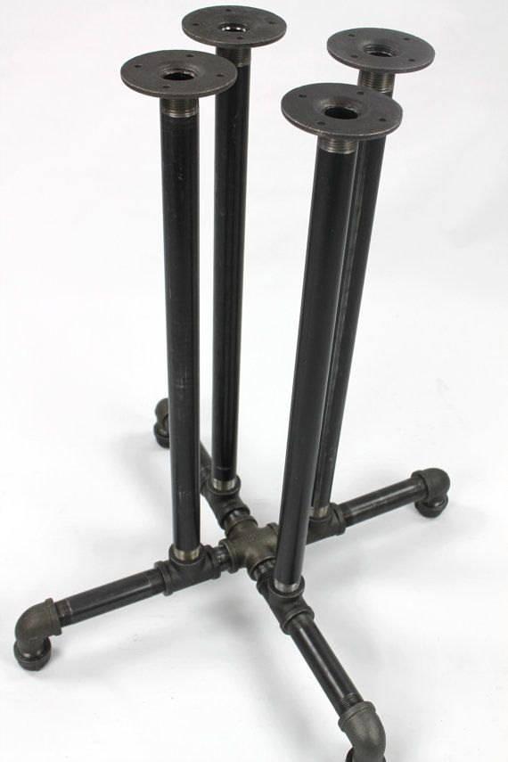Black Pipe Table Frame DIY Parts Kit, PUB, BAR - 1 Black Pipe, 22 ...