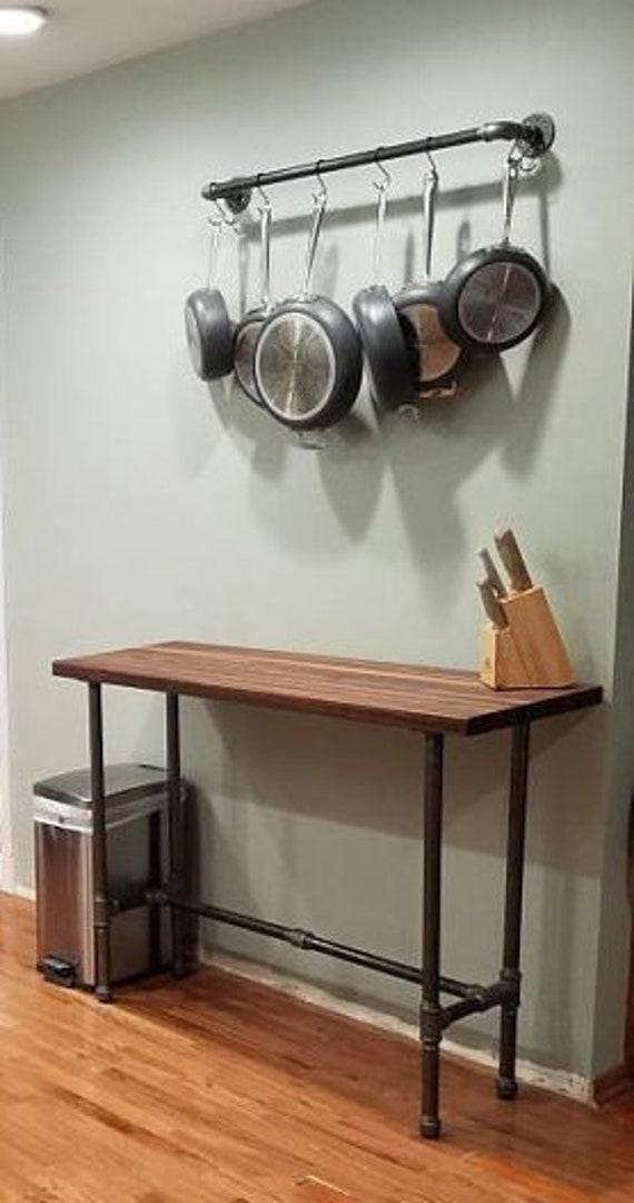 Black Pipe Kitchen Pan Rack Wall Mount DIY Kit | Etsy on kitchen wall coffee maker, kitchen wall stand, wall pot rack, kitchen wall pan storage,