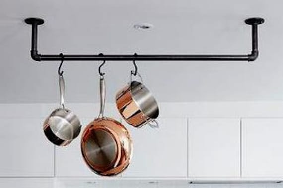 """Industrial Pipe Kitchen Pan Rack, Ceiling or Wall Mount-Complete """"DIY"""" Kit, Easy to Assemble, 10 - 5""""  Hooks Included, 3 Sizes Available-"""