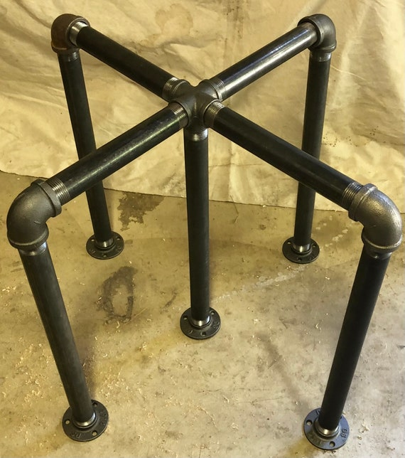 """Industrial Pipe Table Base """"DIY"""" Parts Kit, 1"""" Pipe x 30"""" Tall, Width Options - 12"""", 14"""", 16"""", 18"""", 20"""", 22"""", 24"""", 26"""", 28"""", 30"""", and 32"""""""