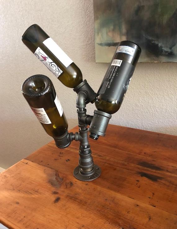 Industrial Pipe Wine Rack, Liquor Bottle Holder - Holds up to 3 Bottles