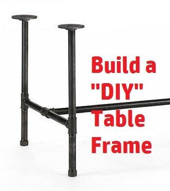 "Black Pipe Table Frame/ TABLE LEGS/Table Base, DIY Parts Kit, 1"" x ..."