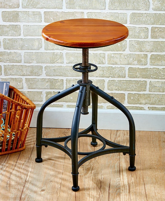"""Industrial Bar Stool with Adjustable Height, Teal or Black - Height Adjustable from 18-1/2""""H to 29-1/2""""H"""