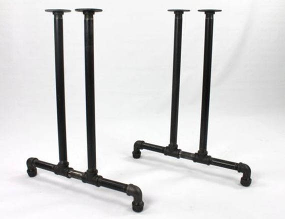 """Black Pipe Table Frame/Table Legs """"DIY"""" Parts Kit, 2 End Frames 3/4"""" Black Pipe X 22"""" Wide X 42"""" Tall- Standing Desk, Custom Sizes Available"""