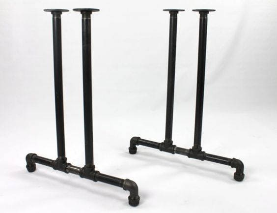 Black Pipe Table Frame/Table Legs DIY Parts Kit, 2 End Frames 3/4