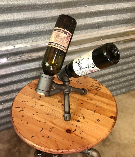 Industrial Black Pipe Wine Rack, Liquor Bottle Holder - Holds up to 2 Bottles