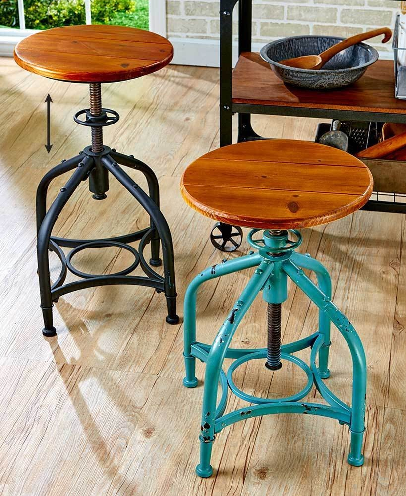 Phenomenal Industrial Bar Stool With Adjustable Height Teal Or Black Gmtry Best Dining Table And Chair Ideas Images Gmtryco