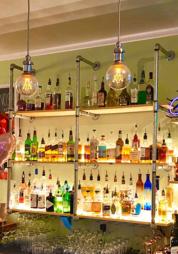 """Pipe Shelving, Wall Mounted, Parts Kit """"DIY"""", 1"""" Galvanized Pipe - Retail, Restaurants, Pubs, Bars, Breweries, Coffee Shops"""