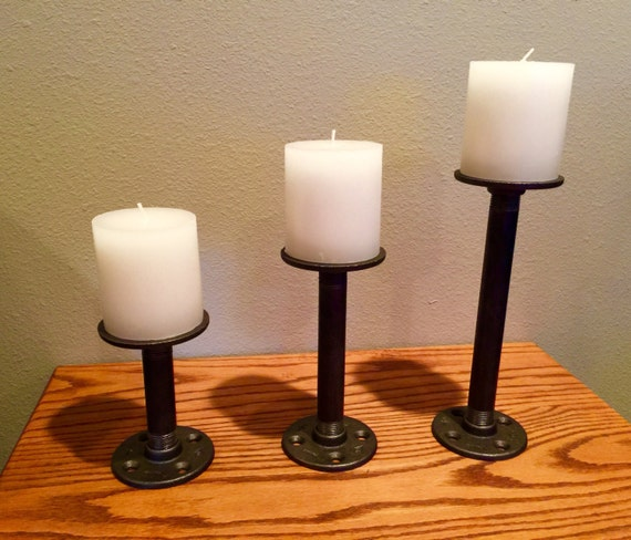 """Candle Holders Industrial Black Iron Pipe """"DIY"""" kit for 3 complete candle holders, Assemble in a few minutes"""
