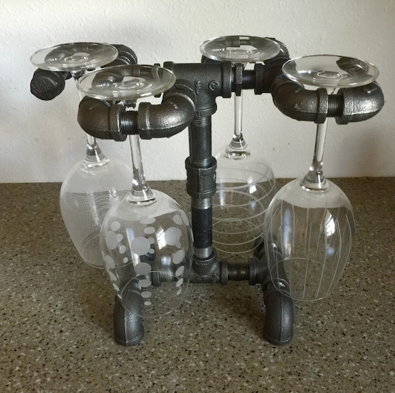 Wine Rack, Wine Glass Stand made from industrial black iron pipe, holds 4 wine Glasses PERFECT for Kitchen, Bar, Diningroom