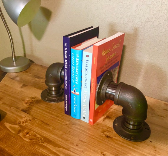 Industrial Pipe Bookends, 1 PAIR (2 Bookends), DIY Kit